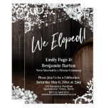 We Eloped! Rustic Wood Barrel Lights Flowers Invitation
