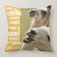 Wear a Smile and Have Friends George Eliot Quote Throw Pillow