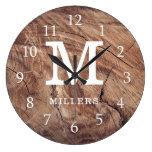 Weathered Wood Farmhouse Family Monogram Large Clock