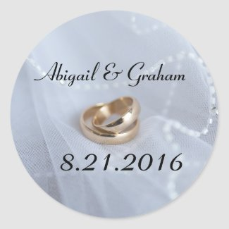 Wedding Bands Invitation Seal Classic Round Sticker