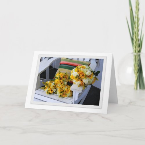 Wedding Bouquets on Adirondack Chair Greeting Card card