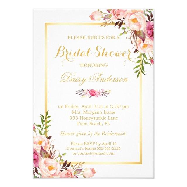 Wedding Bridal Shower Chic Floral Golden Frame