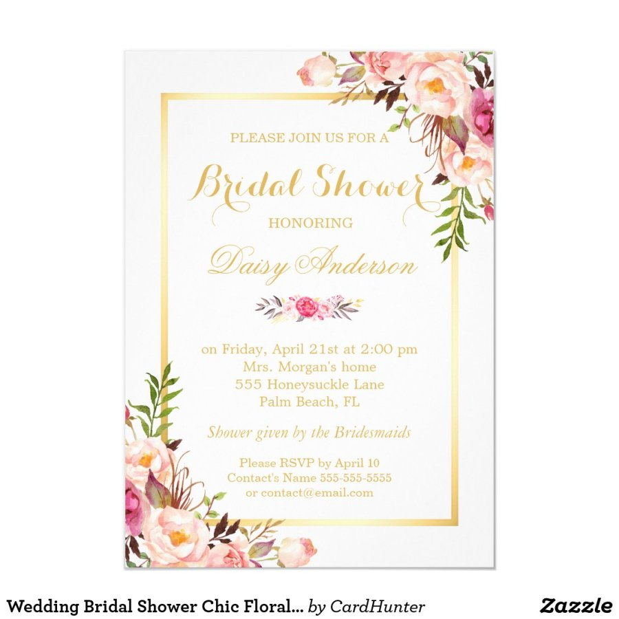Wedding Bridal Shower Chic Floral Golden Frame