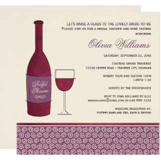 Decorative Beach Message In A Wine Bottle Wedding Invitation