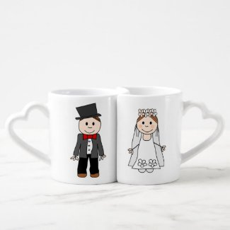 wedding,bride and groom,edit back text couples' coffee mug set