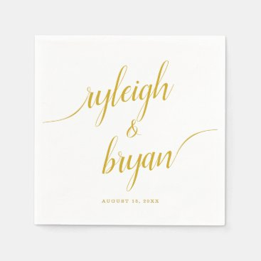 Wedding Bride & Groom Handwritten Calligraphy Napkin
