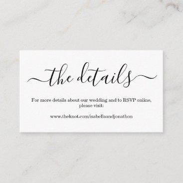 Wedding Details Website Enclosure Card - Simple