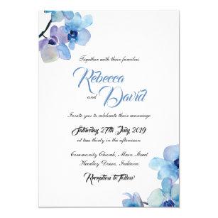 Wedding Invitation Blue Orchid