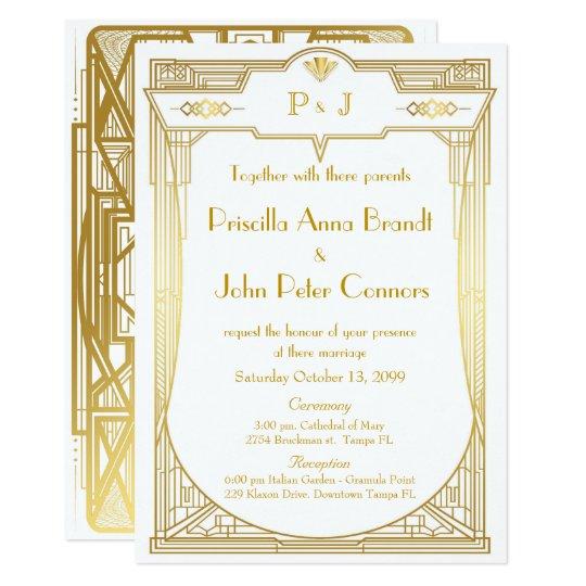 Wedding Invitation Card Great Gatsby Gold White 2b