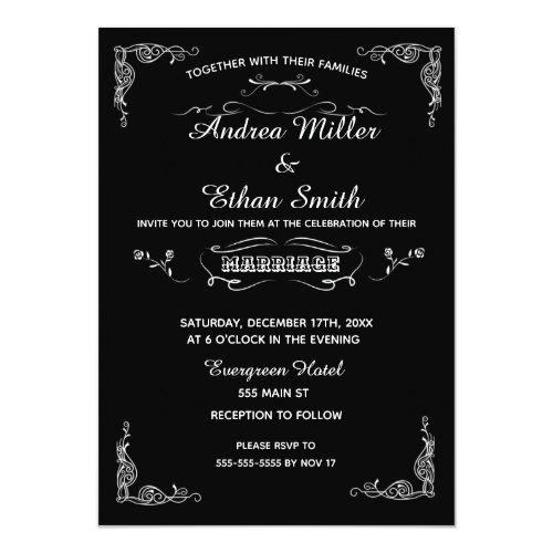 Wedding Invitation Chalkboard Black White