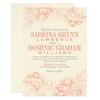 Wedding Invitation Pink Fl Peony Design