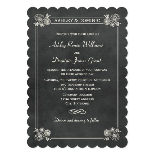 Wedding Invitations | Vintage Chalkboard Design