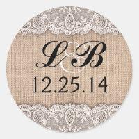 wedding monogram and burlap lace stickers