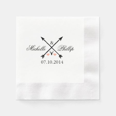 Wedding Napkins Deer and Arrows Paper Napkin