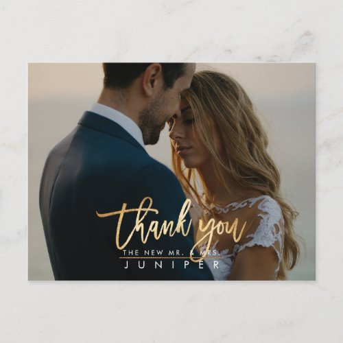 Wedding Photos Thank You Faux Gold Announcement Postcard