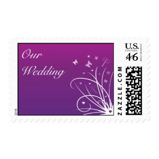 Wedding Postage Stamp - Purple Butterfly Swirl stamp