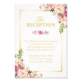 Wedding Reception Elegant Chic Fl Gold Frame Card