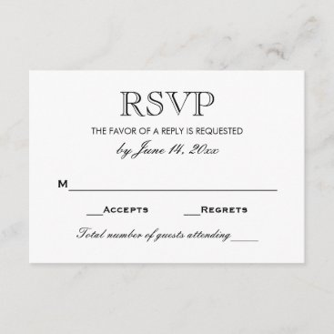 Wedding RSVP Card | Black and White