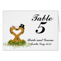 Wedding Table Number Postcard Giraffe Bride Groom