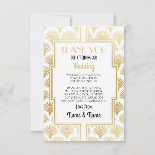 Wedding Thank You Card Engagement Art Deco Party
