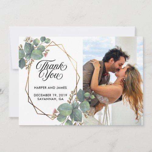Wedding thank you eucalyptus photo card