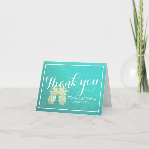 Wedding Thank You Gold Pineapple Couple Teal Roses