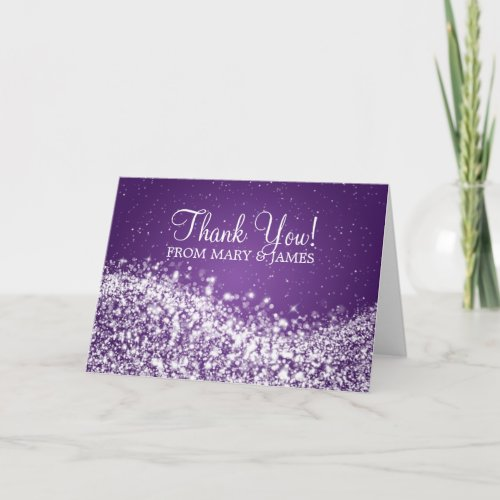 "Wedding ""Thank you"" Sparkling Wave Purple Thank You Card"