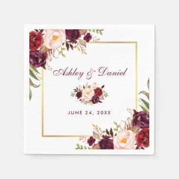Wedding Watercolor Burgundy Floral Gold Napkin