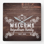 Welcome Monogram Rustic Logo Typography Wood Square Wall Clock