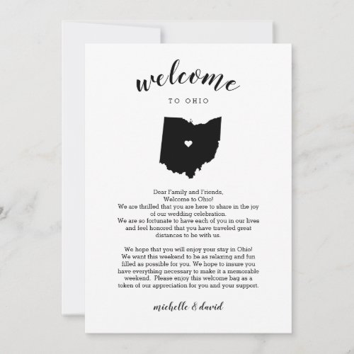 Welcome Ohio | Wedding Letter & Itinerary