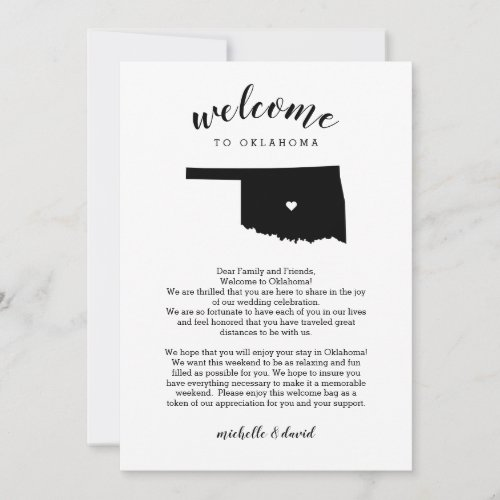 Welcome Oklahoma | Wedding Letter & Itinerary