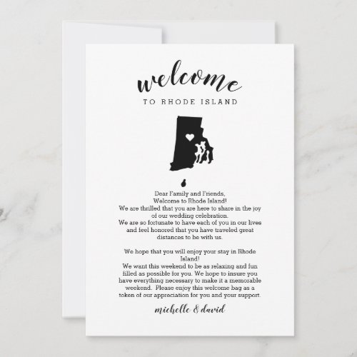 Welcome Rhode Island Wedding Letter & Itinerary