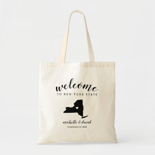 Welcome to New YORK  State Silhouette Wedding Tote Bag