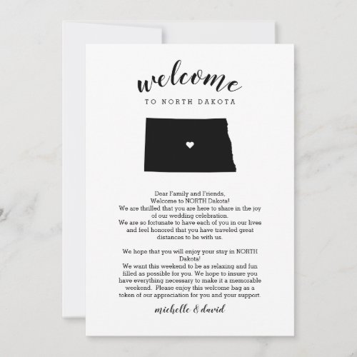 Welcome TO NORTH Dakota Wedding Letter Itinerary