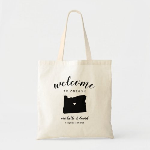 Welcome to Oregon | State Silhouette Wedding Tote Bag