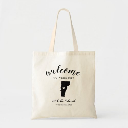 Welcome to Vermont | State Silhouette Wedding Tote Bag