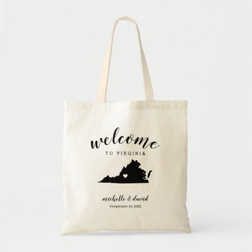Welcome to Virginia  | State Silhouette Wedding Tote Bag