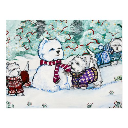 West Highland White Terrier Snowman Postcard