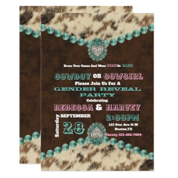 western cowboy or cowgirl gender reveal party invitation