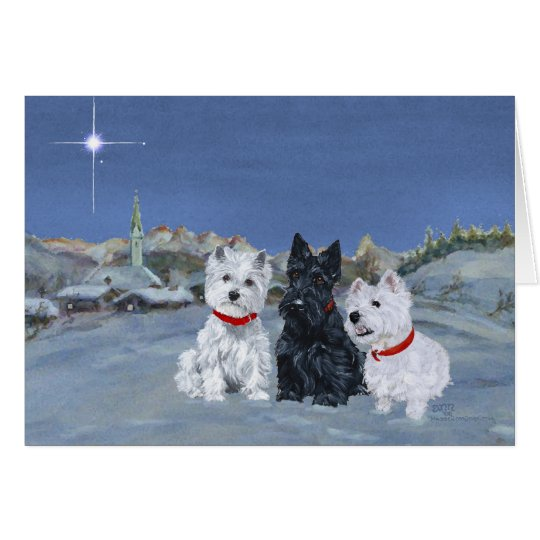 Westies And A Scottie Christmas Card