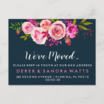 We've moved New address pink roses Announcement Postcard