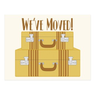 We've Moved - Vintage Suitcases Postcards