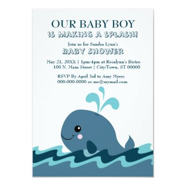 Whale themed Blue Baby Shower Invites
