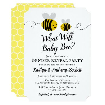 What Will Baby Bee Gender Reveal Party Invitation