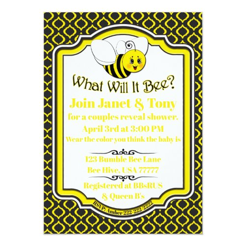 What Will It Bee Couples Baby Shower Invitation