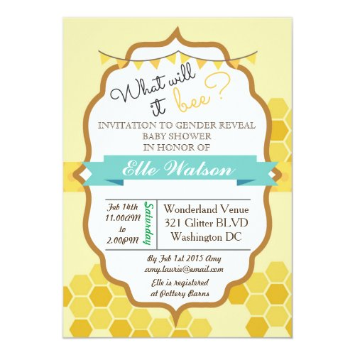 What will it Bee Gender Reveal Baby Shower Invitation
