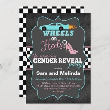 Wheels or Heels Gender Reveal Invitations