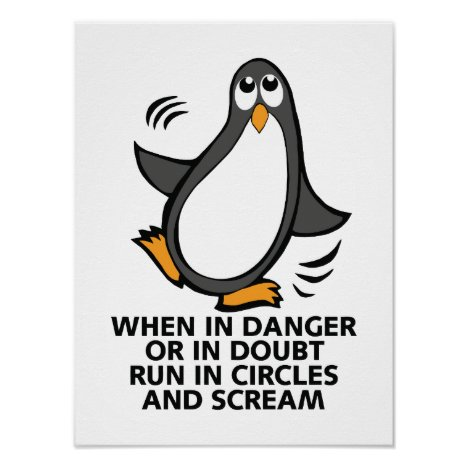 When in Danger Funny Penguin Poster