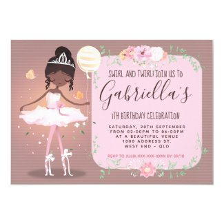 Whimsical Afro Ballerina Birthday Party Invitation