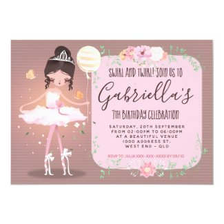 Whimsical Ballerina Birthday Party Invitation